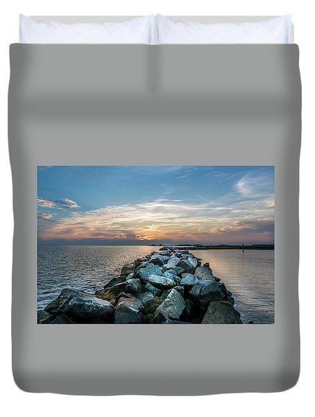 Sunset Over A Rock Jetty On The Chesapeake Bay Duvet Cover