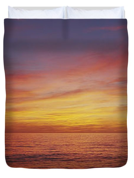 Sunset Over A Sea, Gulf Of Mexico Duvet Cover by Panoramic Images