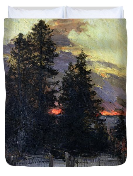 Sunset Over A Winter Landscape Duvet Cover by Abram Efimovich Arkhipov