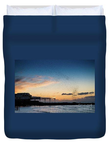 Sunset Over Aberystwyth Pier Duvet Cover