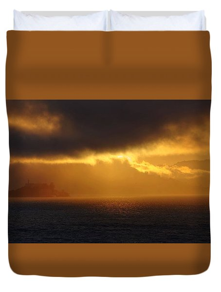 Sunset Over Alcatraz Duvet Cover