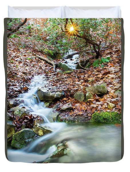 Duvet Cover featuring the photograph Sunset Over An Oak Mountain Stream by Parker Cunningham