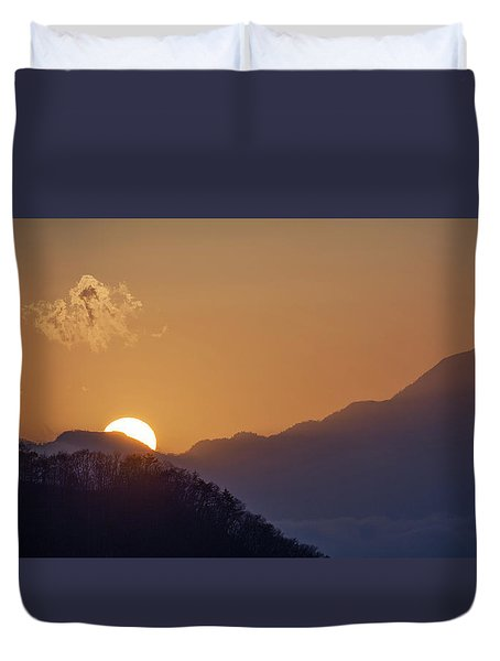Duvet Cover featuring the photograph Sunset Over Asia  by Rikk Flohr