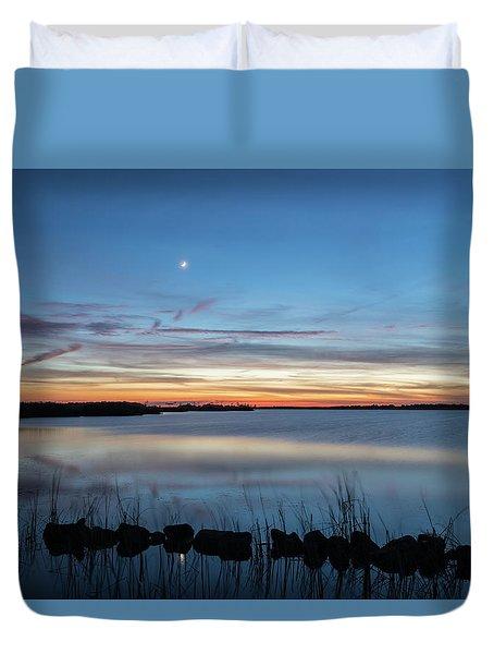 Sunset Over Back Bay Duvet Cover