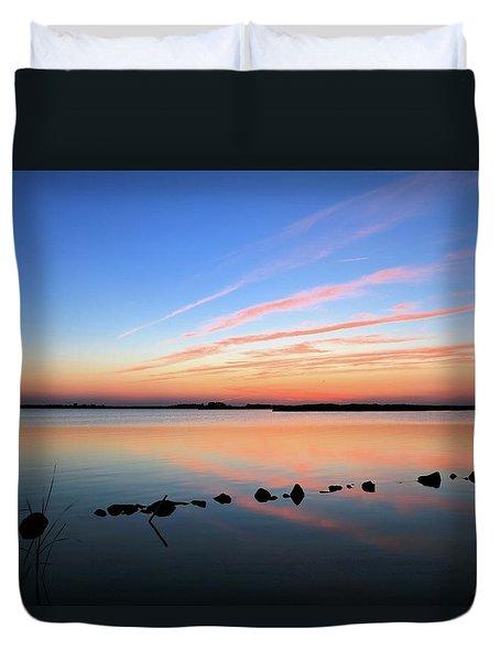 Sunset Over Back Bay National Wildlife Refuge Duvet Cover