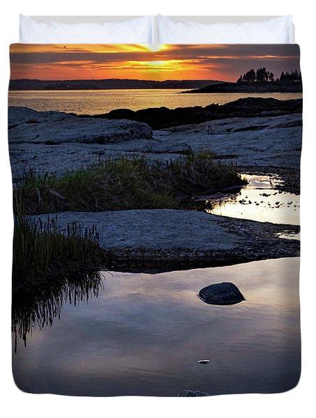 Sunset Over Boothbay Harbor Maine  -23095-23099 Duvet Cover