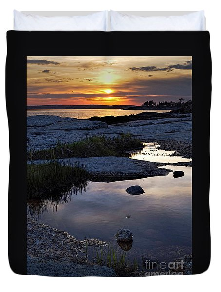 Sunset Over Boothbay Harbor Maine  -23095-23099 Duvet Cover