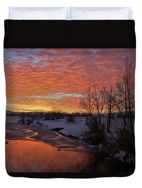 Sunset Over Bountiful Lake Duvet Cover