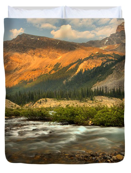 Sunset Over Bow Glacier Stream Duvet Cover