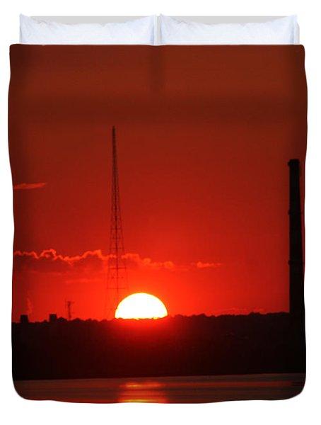 Sunset Over Bridgeport Duvet Cover