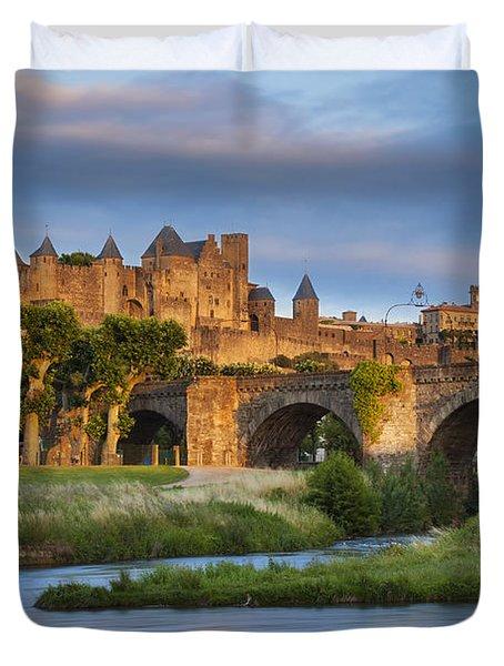 Sunset Over Carcassonne Duvet Cover by Brian Jannsen