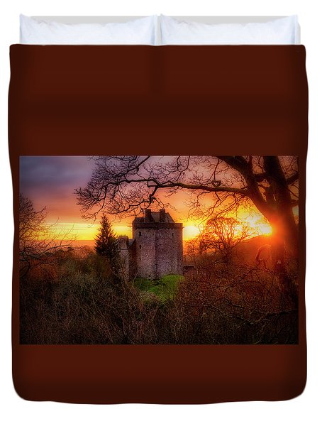 Duvet Cover featuring the photograph Sunset Over Castle Campbell In Scotland by Jeremy Lavender Photography