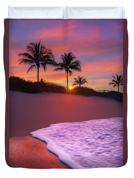 Duvet Cover featuring the photograph Sunset Over Coral Cove Park In Jupiter, Florida by Justin Kelefas