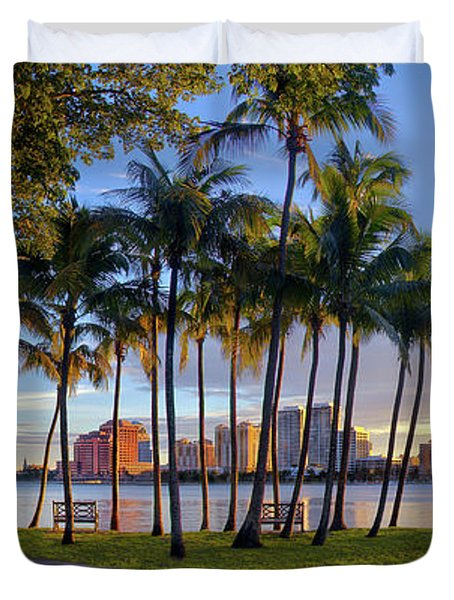 Sunset Over Downtown West Palm Beach From Palm Beach Island Duvet Cover