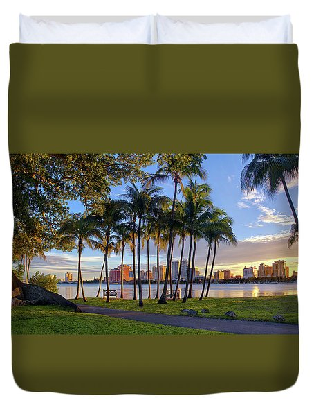 Duvet Cover featuring the photograph Sunset Over Downtown West Palm Beach From Palm Beach Island by Justin Kelefas