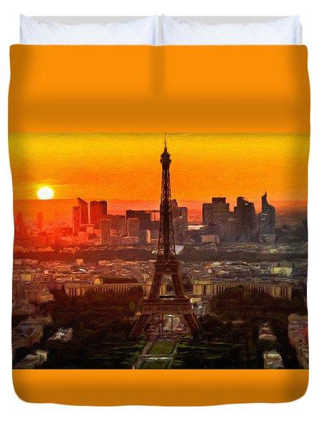 Sunset Over Eiffel Tower Duvet Cover