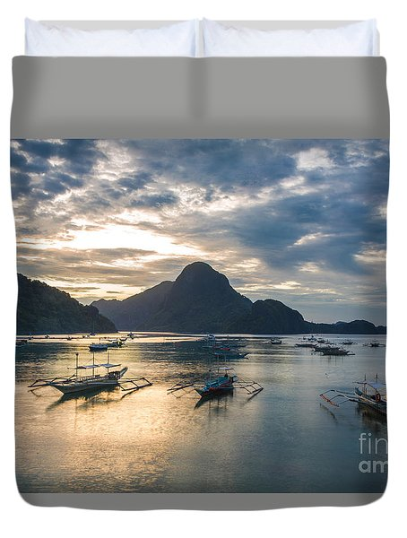 Sunset Over El Nido Bay In Palawan, Philippines Duvet Cover