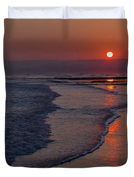 Sunset Over Exmouth Beach Duvet Cover