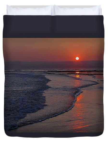 Sunset Over Exmouth Beach Duvet Cover