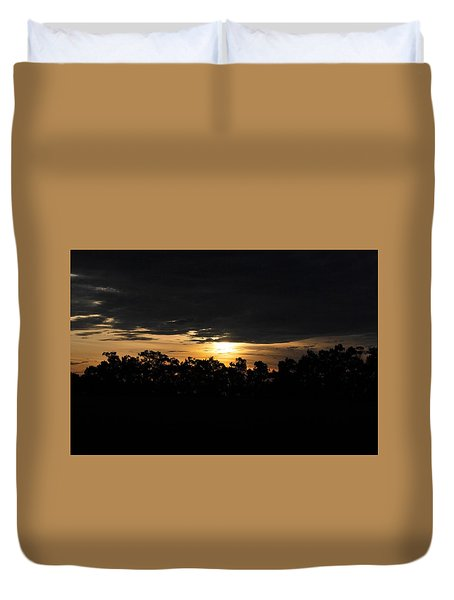 Sunset Over Farm And Trees - Silhouette View  Duvet Cover