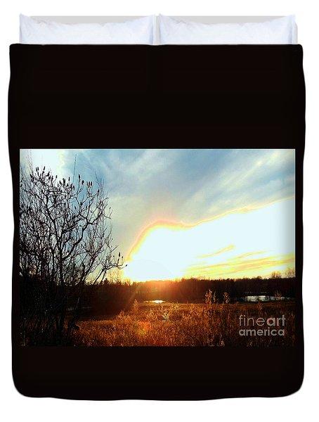 Sunset Over Fields Duvet Cover