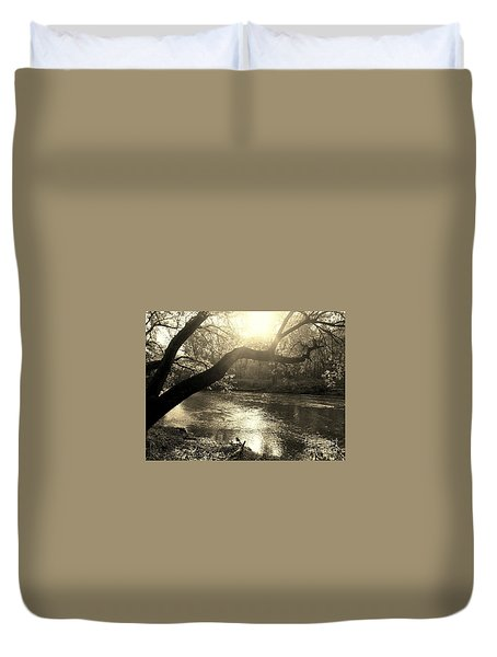 Sunset Over Flat Rock River - Southern Indiana - Sepia Duvet Cover