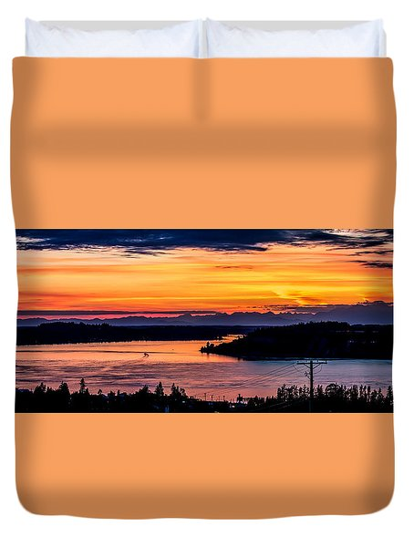Sunset Over Hail Passage On The Puget Sound Duvet Cover