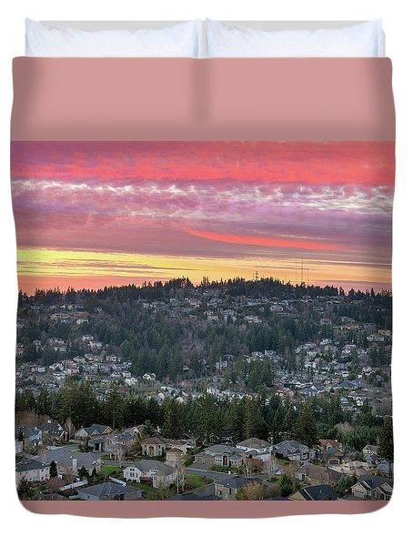 Sunset Over Happy Valley Residential Neighborhood Duvet Cover