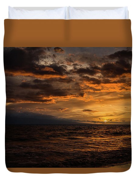 Sunset Over Hawaii Duvet Cover by Chris McKenna