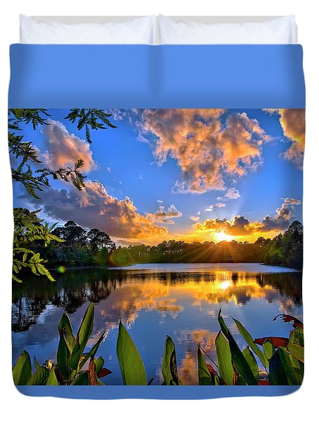Duvet Cover featuring the photograph Sunset Over Hidden Lake In Jupiter Florida by Justin Kelefas