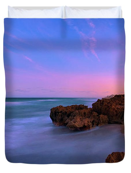 Sunset Over House Of Refuge Beach On Hutchinson Island Florida Duvet Cover
