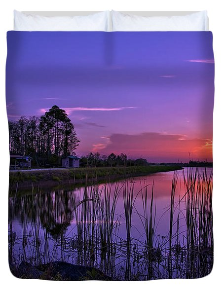 Sunset Over Hungryland Wildlife Management Area Duvet Cover