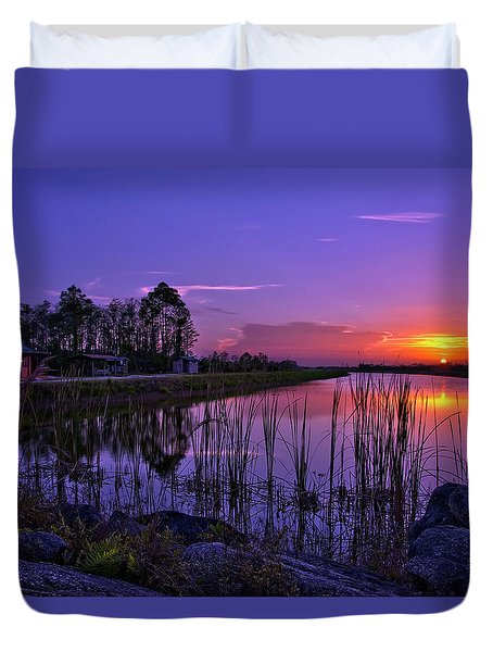 Duvet Cover featuring the photograph Sunset Over Hungryland Wildlife Management Area by Justin Kelefas