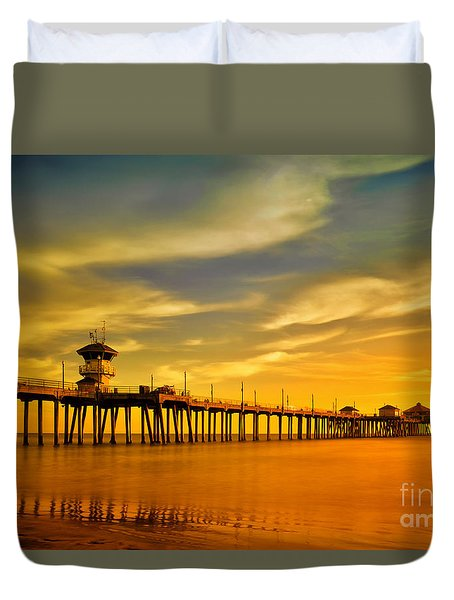 Sunset Over Huntington Beach Pier Duvet Cover