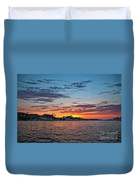 Sunset Over Huntington Harbour Duvet Cover