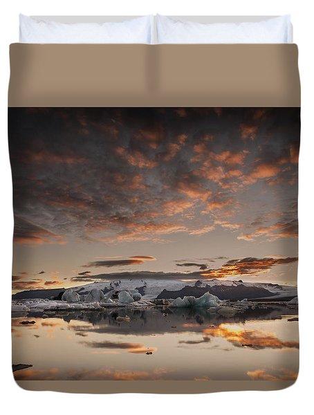 Duvet Cover featuring the photograph Sunset Over Jokulsarlon Lagoon, Iceland by Chris McKenna