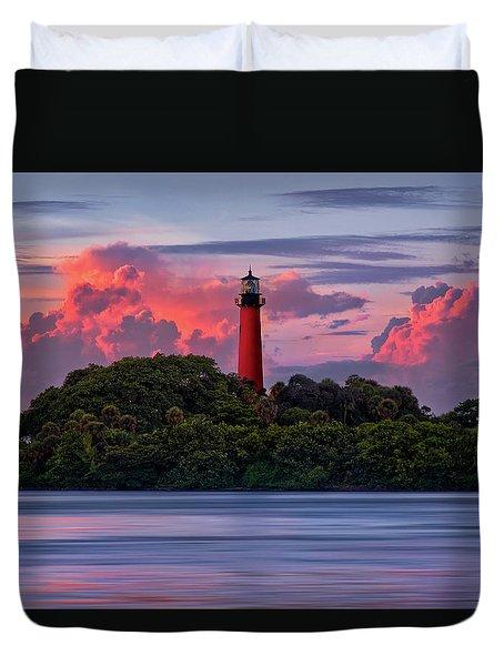 Sunset Over Jupiter Lighthouse, Florida Duvet Cover by Justin Kelefas