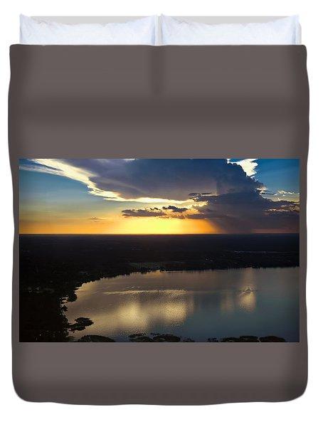 Sunset Over Lake Duvet Cover by Carolyn Marshall