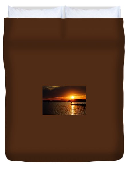 Sunset Over Lake Champlain Duvet Cover