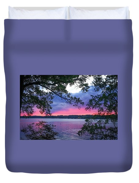 Sunset Over Lake Cherokee Duvet Cover