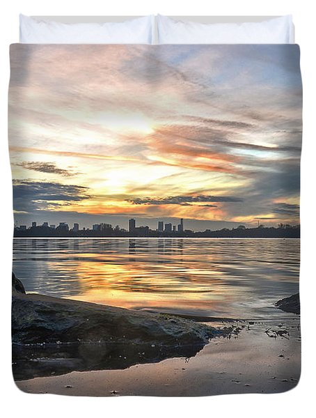 Sunset Over Lake Kralingen  Duvet Cover
