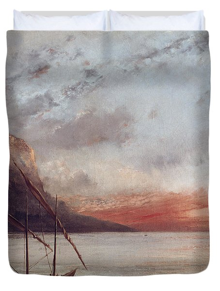 Sunset Over Lake Leman Duvet Cover by Gustave Courbet