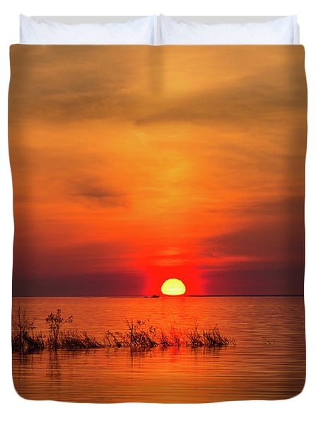 Sunset Over Lake Michigan Duvet Cover