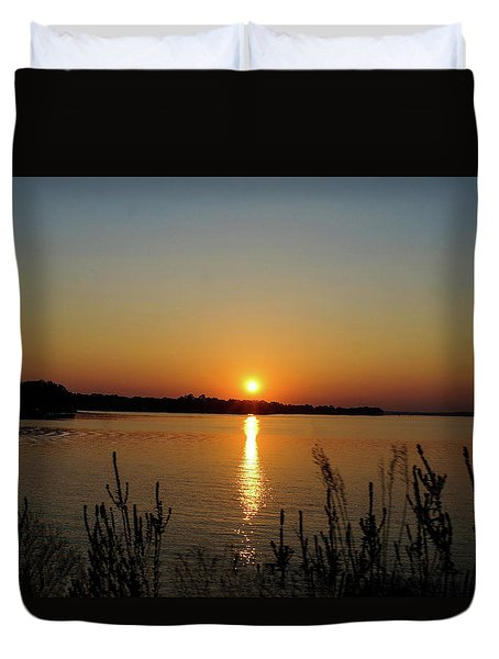 Sunset Over Lake Norman Duvet Cover by B Wayne Mullins