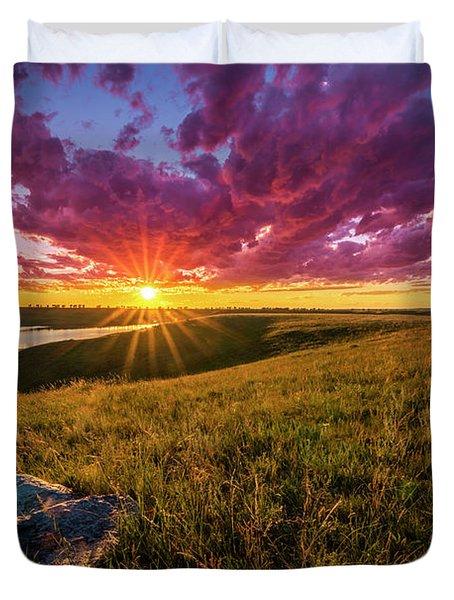 Sunset Over Lake Oahe Duvet Cover