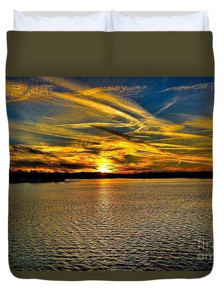 Sunset Over Lake Palestine Duvet Cover
