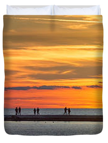 Duvet Cover featuring the photograph Sunset Over Ludington Panoramic by Adam Romanowicz