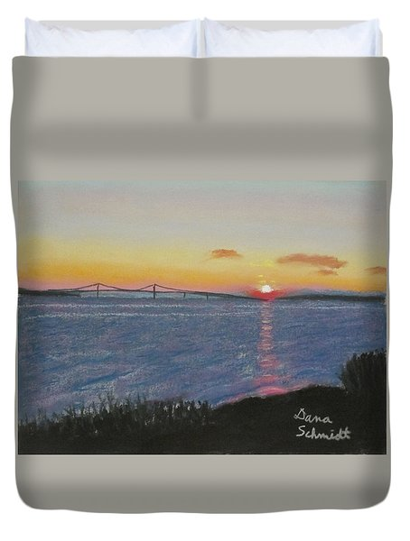 Sunset Over Mackinac Bridge In Mi Duvet Cover
