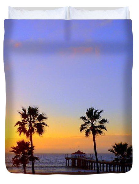 Sunset Over Manhattan Beach Duvet Cover