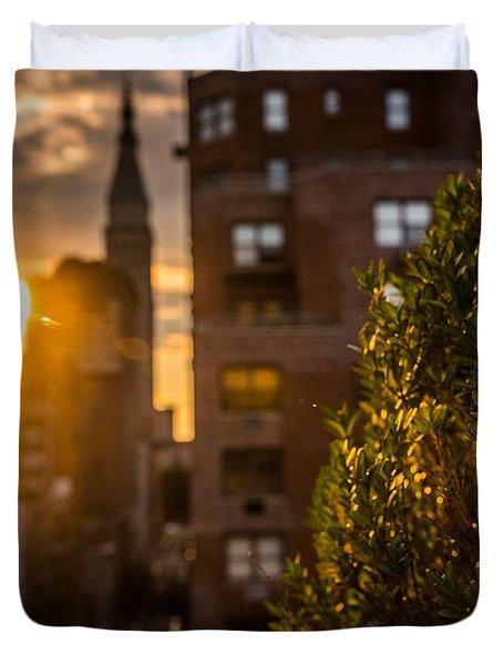 Sunset Over Manhattan New York City Duvet Cover